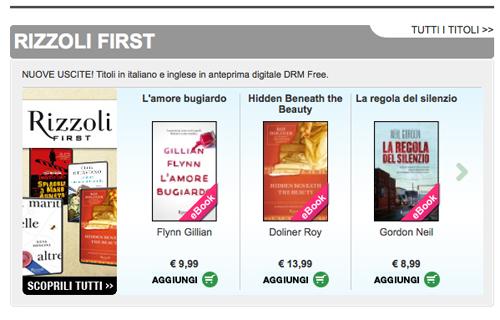In digitale alcuni libri arrivano prima, la collana Rizzoli First ad esempio
