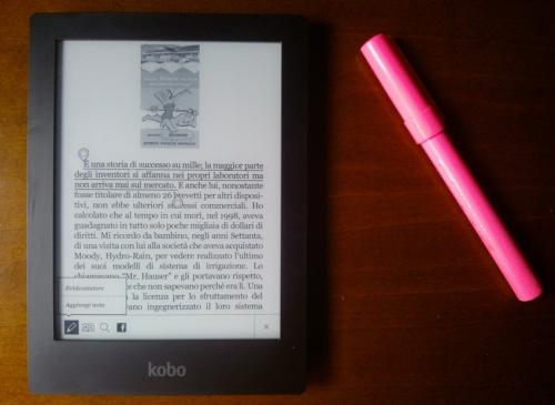 Il menu per evidenziare o inserire note del Kobo Aura HD