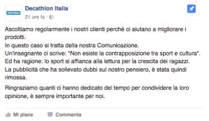 Il post col quale Decathlon spiega la rimozione della campagna #LoFaccioPerché in campo non servono libri
